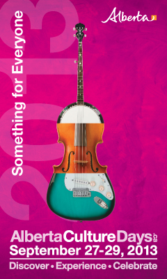 Alberta Culture Days graphic featuring an instrument that is part banjo, part violin, and part electric guitar