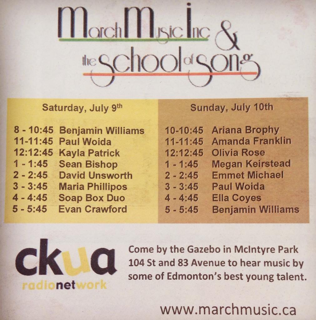 Schedule of performances